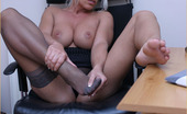 Leggy Lana Hot Blonde Secretary Lana Cox Flashes Her Sexy Stockinged Legs And Big Tits At Her Boss, Before Working Hard On Her Pussy