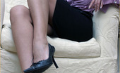 Leggy Lana Leggy Milf Lana Cox Peels Off Her Nylon Panties For A Naughty Play On The Sofa
