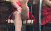 Leggy Lana Classy Blonde Lana Cox Returns Home From A Night Out In Her Stunning Red Dress And Pantyhose, And Quickly Gets Them Off For A Sneaky Wank