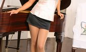 Only Silk And Satin Charli Delu Gorgeous Charli Poses Infront Of The Piano In A Silk Top And Black Miniskirt. (Non Nude)