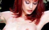 Gothic Sluts Justine Joli Innocent Redhead In Pink Slip On Outdoor Swing