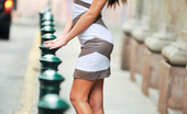 Nubiles Lindsey Olsen Tempting Brunette Heats Up The Street With Her Sexy Poses In A Tight Tube Dress