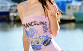 Nubiles Aimee Ryan Sweet Skinny Model Posing In Sexy Tube Top And Skirt Beside The Lake