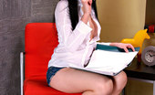 Nubiles Larisa Nubile Bookworm Stops Studying Long Enough To Pleasure Her Shaved Pussy