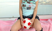 Nubiles Aliana Irresistible Aliana Exposes The Panty She Is On While Showing Hot Poses With A Soccer Ball