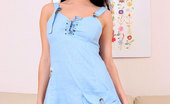 Nubiles Marcy Enticing Babe Marcy In Blue Dress Teases And Having Fun On The Couch
