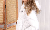 Nubiles Layna Gorgeous Teen Wearing White Jacket Posing Sexly At Home