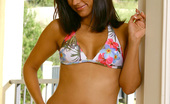 Nubiles Reena Foxy Reena Posing Her Sexy Floral Two Piece Bikini Out In The Terrace