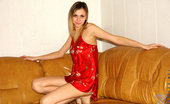 Nubiles Katrina Leggy Smiling Faced Cutie In Red Nightie Getting Ready To Unleash All