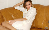 Nubiles Katrina Amateur In All White Cute Dress Showing Upskirt And Sweet Legs On Couch
