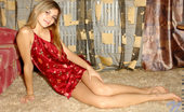 Nubiles Katrina Perfect Teen Model In Shiny Red Nightie Spreading Her Legs To Show Her Panty