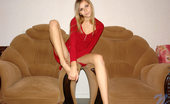 Nubiles Katrina Tempting Flirt In Red Sexy Dress Spreading Legs To Show Her Pink Panty For You