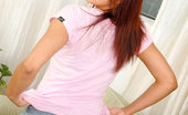 Nubiles Veronique Barely Legal Teen In Denim Skirt And Sweet Black Polkadot Bra Posing Hot On Couch