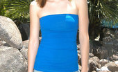 Nubiles Angelina Young Horny Girl Wearing Blue Mini-Skirt Posing Under The Sun