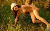 Nubiles Carmen Sweet Angelic Teen Strips Off Showing Cute Tits And Shaved Pussy On The Woods