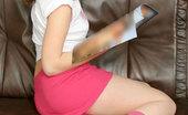 Nubiles Vika Horny Brunette Short Red Skirts Fantasizing Sex Than Reading