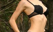 Nubiles Nadia Seriously Cute Teen Nubile Nadia Pulls Off Her Matching Black Underwear Set Outside