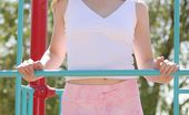 Nubiles Jules Just Hanging Out At The Playground Catch Jules Smiling And Playing On The Jungle Gym