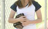 Nubiles Jules 251201 Jules May Be Shy But She Aint That Shy Watch Her Flash Her Boobies Out On The Field In Full Baseball Gear