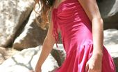 Nubiles Tresseme Sexy Teen Sits Out On Some Rocks In The Shadows In Her Pink Prom Like Dress So Sexy