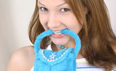Nubiles Kate Yes That Is A Fuzzy Blue Purse In Her Mouth And Yes Kate Is Cute As Hell