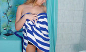 Nubiles Joy Sexy Teen Joy Gets Out Of The Shower And Into A Striped Towel Very Sexy