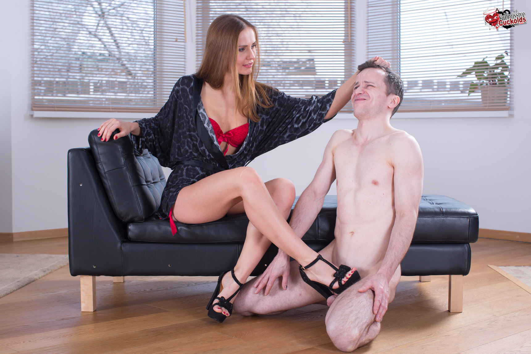 Dominated husband small penis