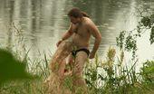 Beach Hunters Riverside Gob Job Frisky Gal Cock-Blows In The Riverside Grass Under Spycam Observation