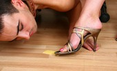 Under Feet Girlfriends Drink Champagne And Feed The Slave Crawling Under Table Licking Their Feet