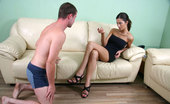Under Feet Fragile Brunette Smashes Her Slave`S Balls Without Mercy