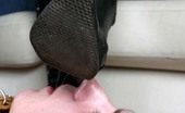 Under Feet Masterful Girls Force Naked Leashed Freak To Clean Their Boots