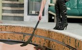 Under Feet Rough Blonde Dominatrix Feeds Her Pitiful Doggy Boys Off Her Stiletto Heels