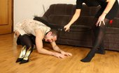 Under Feet Leashed Slave Gets Sissified And Made To Lick His Mistress'S Feet And Shoes
