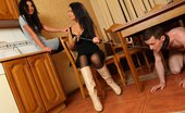 Under Feet Mistresses Drink And Smoke While Slave Is Licking Their Dirty Leather Boots