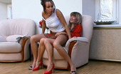 Backdoor Lesbians Deborah & Maria Hot Lesbian Chick Throwing Her Butt On Enormous Strap-On Right On Armchair