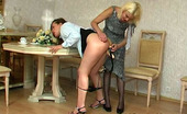 Backdoor Lesbians Kathleen & Ella Lesbian French Maid Getting Her Poop Chute Strap-On Banged On All Her Fours