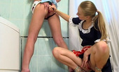 Backdoor Lesbians Diana & Florence Pony-Tailed Lesbian Gal Eagerly Losing Her Anal Virginity Right In Bathroom