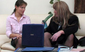 Strapon Sissies Tina & Nikola Smartly Dressed Sissy Signing Papers For A Strap-On Fuck With A Secretary