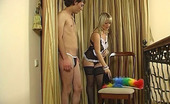 Strapon Sissies Irene & Jack Strap-On Armed Maid Makes A Sissy Put On Her Uniform Aching For Ass-Plowing