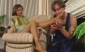 Nylon Feet Videos Sophia & Morris Muscle Worker Putting Aside His Daily Chores Caressing Babe'S Nylon Feet