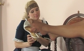 Nylon Feet Videos Ira & Laura French Maid In Reinforced Toes Pantyhose Kneeling Down To Play With Pussy