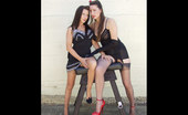 Nylon Jane Jane And Saffy Pose And Bend Over A Bench