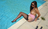 Nylon Jane Topless Jane Takes A Dip In The Pool In Stockings