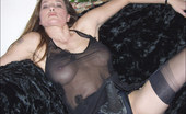 Nylon Jane See Through Negligee And Black Stockings Cover Jane