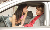 My Sexy Kittens Sandy Joy Naughty Teenie Brunette Playing With Cock Inside A Vehicle