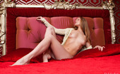 Rylsky Art Mia Punainensa Against An Elegantly Red Bedroom Setting, Mia'S Natural Allure And Elegant Confidence Stands Out As She Flaunts Her Petite Yet Supple Body.