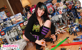 Sabrina Squirts Sabrina Plops Down Amidst A Sea Of Action Figures And Other Awesome Toys For This Unique Set That Shows Off A Bit Of Her Geeky Side. Check Out The Sweet Ninja Turtles Hoodie!