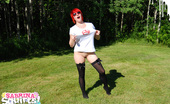 "Sabrina Squirts Sabrina Sports Her ""Your Daily Girls"" T-Shirt In This Set That Shows Her Love For This Legendary Site. It Was Such A Hot Day She Had To Cool Down Wet T-Shirt Style!"