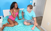 Ebony Tugs Brandi My Sisters Friend Ebony Slut Brandi Milking Her Roommate With Big White Cock