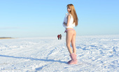Showy Beauty Lina Sunny Morning Winterbeauty Adorable Long Haired Beauty Stripping And Posing In The Nude Outdoor In The Bitter Cold.